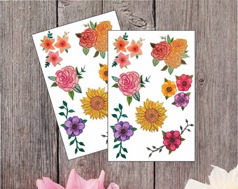 2 Pack - Watercolor Flowers Sticker Sheet