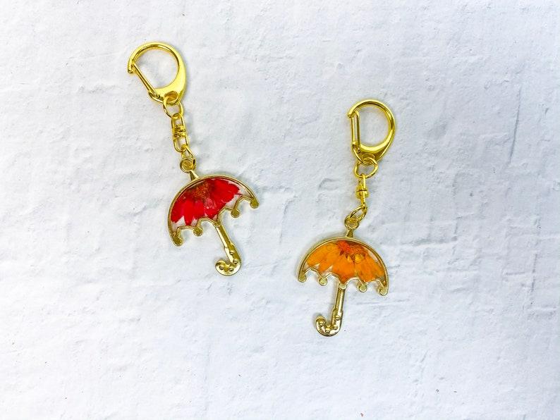Umbrella Keychain Pressed Flower Keychain Resin Flower Keychain Resin Keychain Resin Keychain Floral Keychain