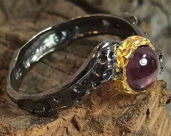 Rhodolite Eye Rhodium Plated Sterling Silver Ring Size 8