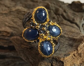 Quad Star Sapphire Two-Tone Gold and Rhodium Plated Sterling Silver Ring Size  7.75