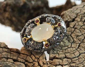 Cabochon Moonstone Rhodium Plated Sterling Silver Ring Size 8