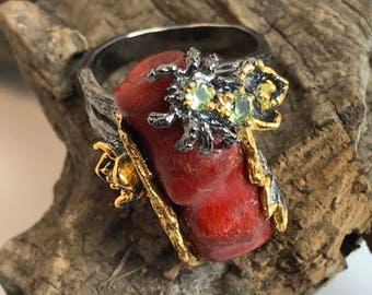 Red Coral with Peridot Tarantula in Rhodium Plated Sterling Silver Size 7.5