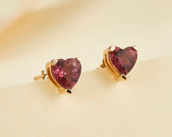 14k 18k Rose Gold Tourmaline Heart Stud Earring - White Gold Natural Diamond Jewelry - Minimal Studs Custom Gift E006