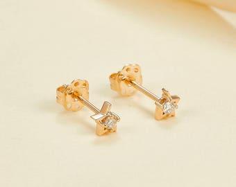 14k 18k White Gold Stars Diamond Stud Earring - Rose Gold Natural Diamond Jewelry - Minimal Earring - Custom Gift E009