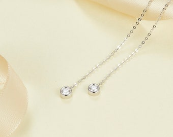 14k 18k White Gold Round Diamond Drop Earring - Rose Gold  Gold Natural Diamond Jewelry - Minimal Studs - Custom  Gift E012