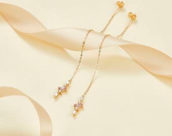 14k 18k Gold Sapphire and Diamond Drop Earring - Rose White Gold Natural Diamond Jewelry - Minimal Studs - Custom Gift E014
