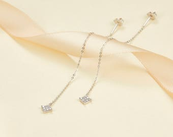 14k 18k White Gold Square Diamond Drop Earring - Rose Gold  Gold Natural Diamond Jewelry - Minimal Studs - Custom  Gift E013