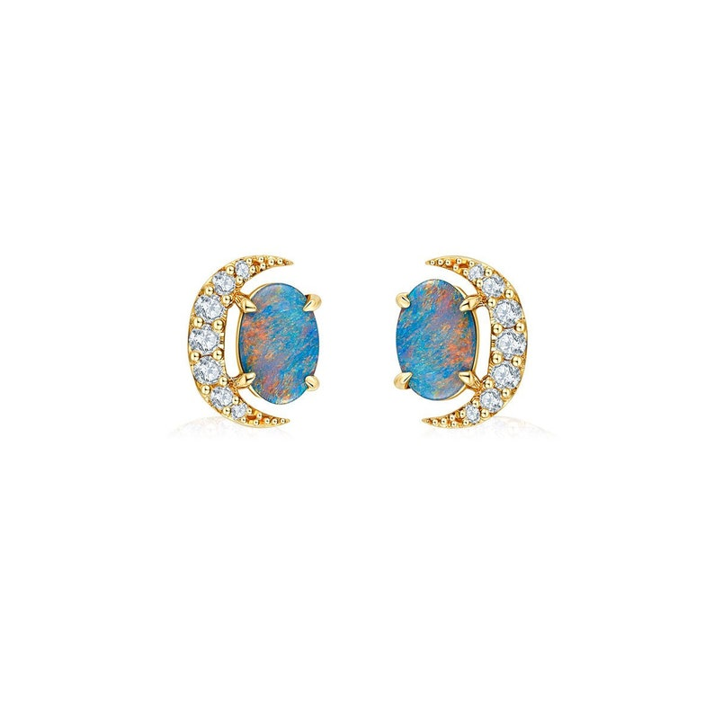 Brilliant 18k Yellow Gold Stud Earrings Opal Gemstone Wedding Fine Gift Earrings Jewelry Fine Earrings Jewelry & Watches