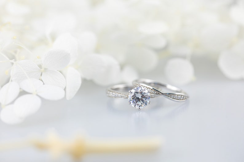 Princess Engagement Ring Solitaire 14K Authentic White Gold 1.0 Ct Jewelry Gift