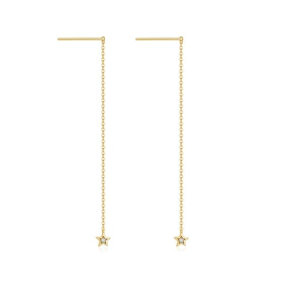 Rose Gold Colour Hoop Drop Earrings 8cm Fine Woven Detail In Presentation Box