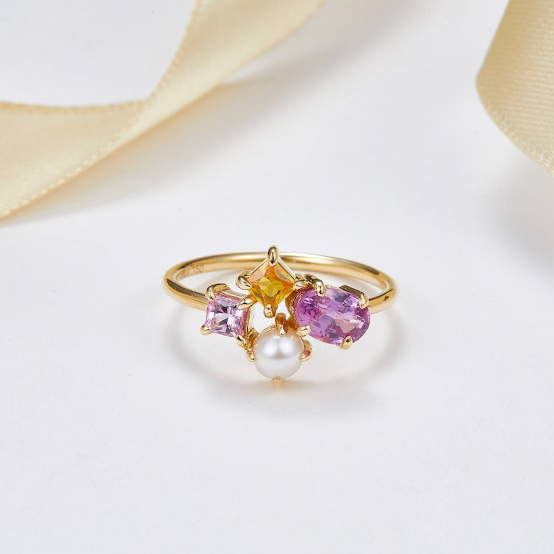 Pink Sapphire and Akoya Pearl Cluster Ring, 14k 18k Gold, Personalized  Wedding Rin,Purplemay R068