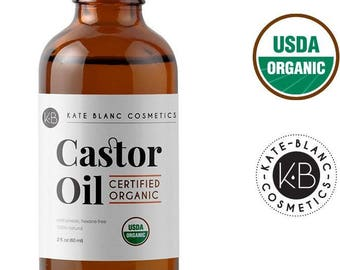 Organic Castor Oil by Kate Blanc, 100% Pure, Cold Pressed, Hexane Free. Stimulate Growth for Eyelashes, Eyebrows, Hair. USDA Certified.