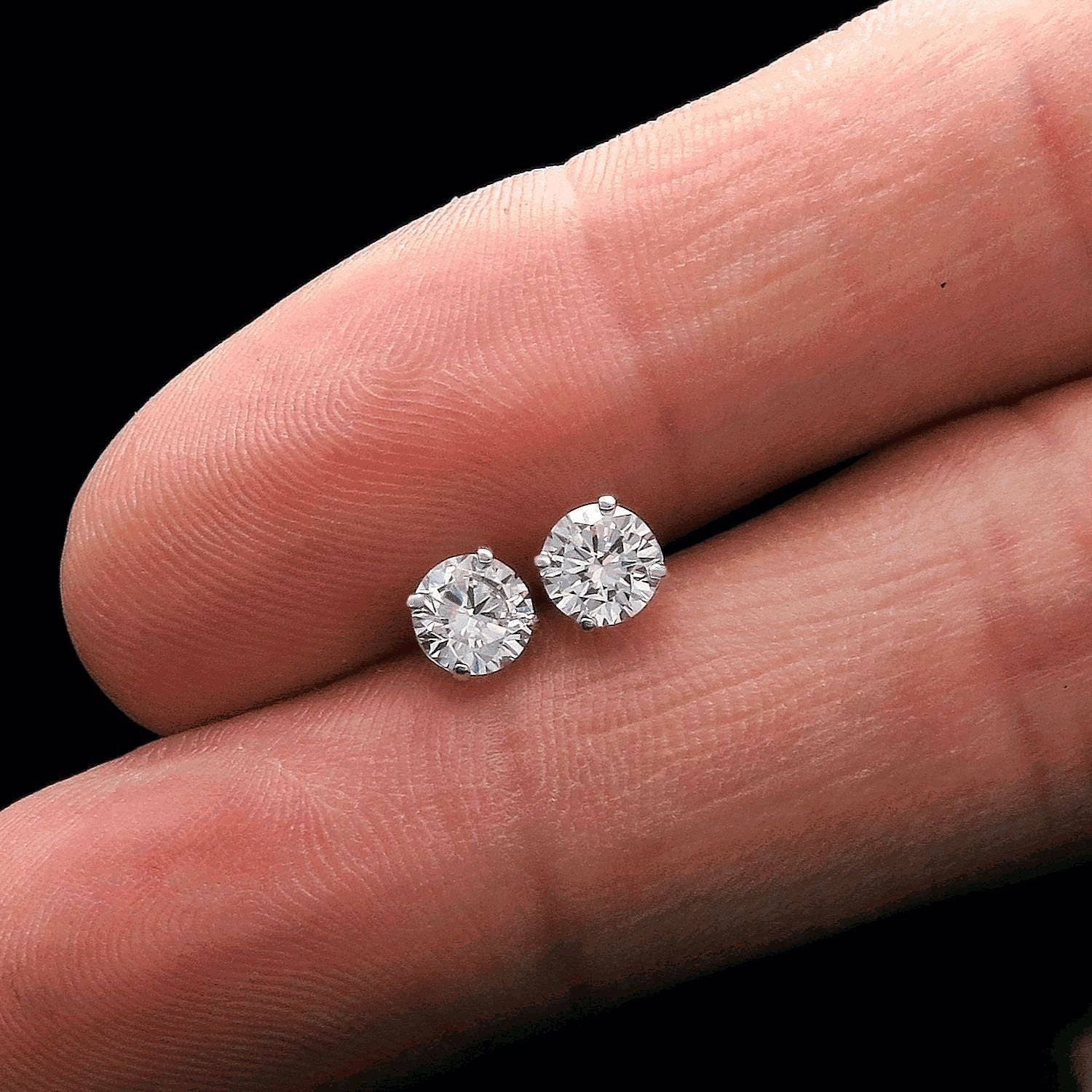 Round Solitaire Earrings w/ 1 Carat Simulated Diamond & 14K Solid ...