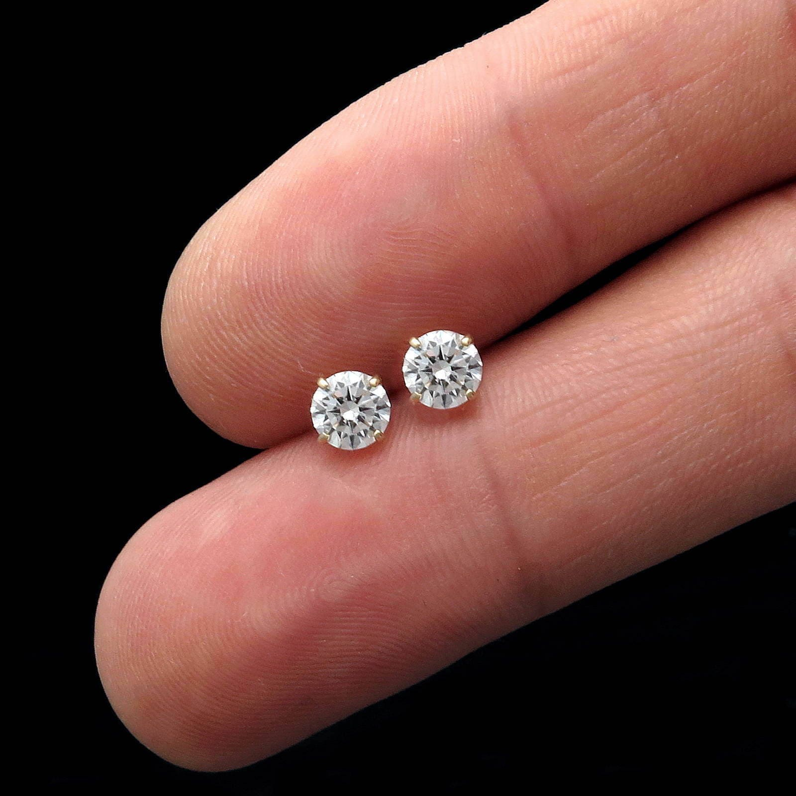 1 Carat Round Simulated Diamond Solitaire Earrings 14K Yellow Gold ...