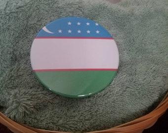3.5 Inch Uzbekistan Flag Button