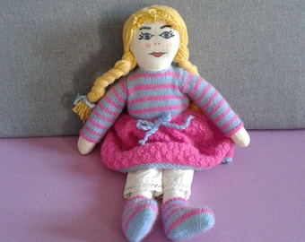 Rag Doll. Hand-made doll. of cloth and wool. Rag Toy. Original gift.