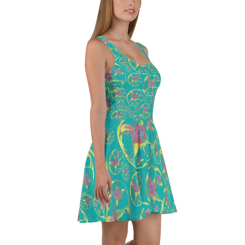 45805eb929 Floral Skater Dress Short Skater dress Disco Dress Flared