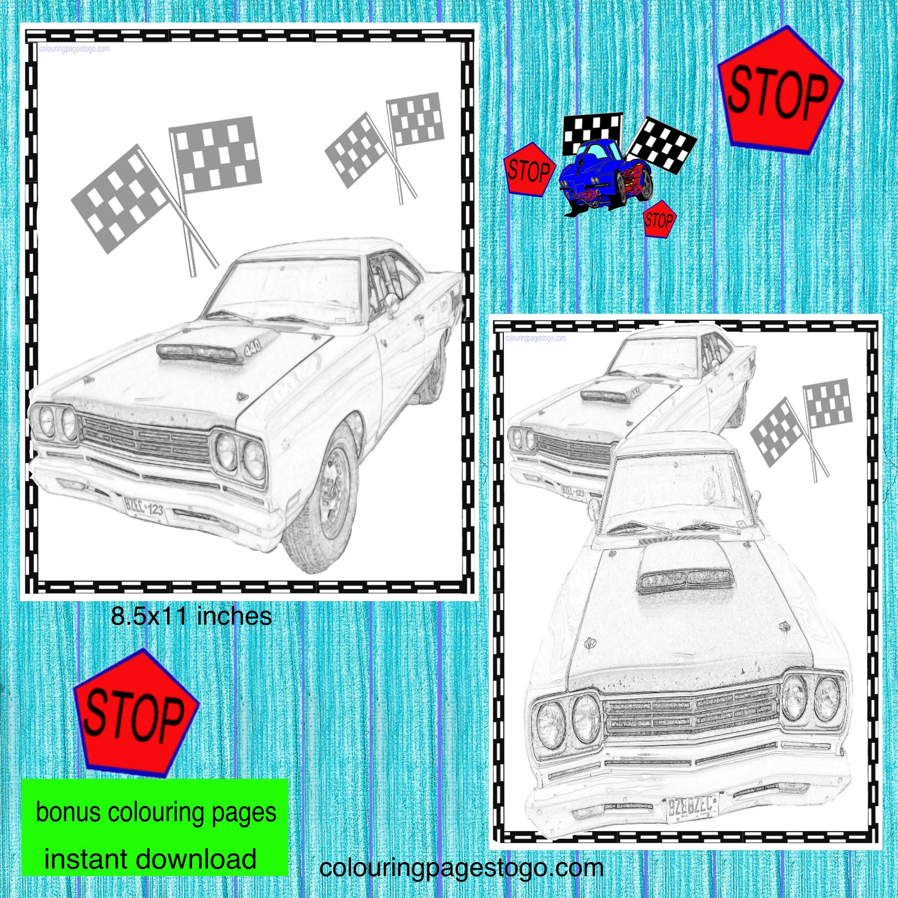 Car Banner Happy Birthday Party Set Printable Race Car Happy