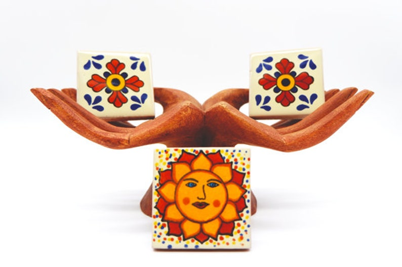 Fridge Magnet Tile  Mexican Home Decor  Boho Decor  Hand Made Magnets  Mexican Tile  House Warming Decor  Boho House  Mexican House
