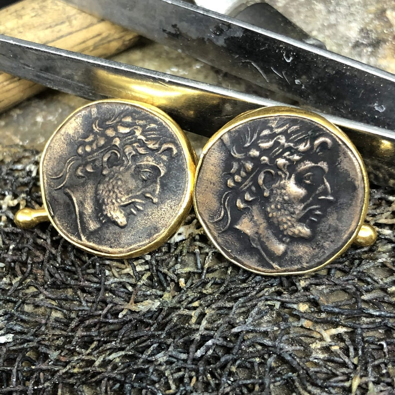 24K Gold Over 925K Sterling Silver Handmade With Roman Coin Man for Groom from bride Cufflink Ancient Designer Jewelry Manday Father Day
