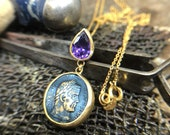 Personalized 24K Gold Over 925K Sterling Silver Ancient Style Designer Handmade Roman Coin With Amethyst Boho Roman Art Designer Necklace