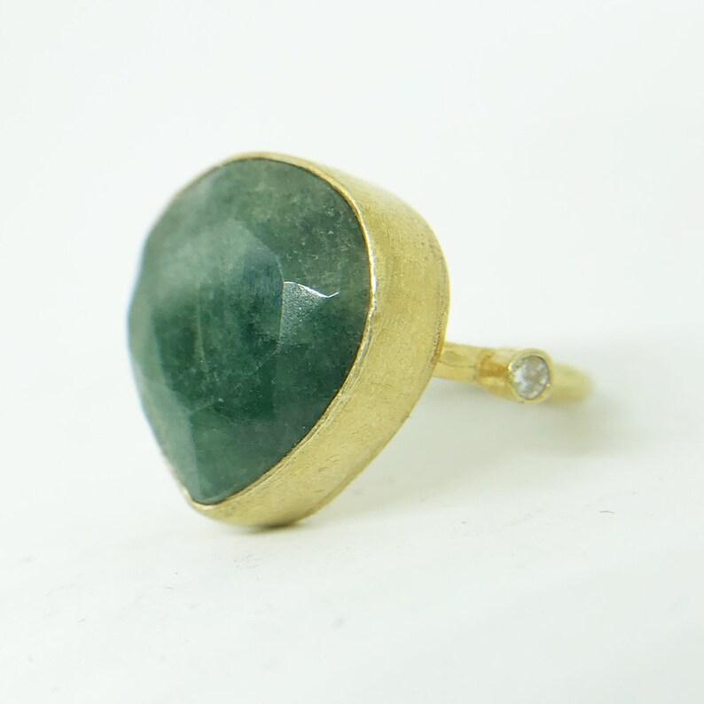 24K Gold Over 925K Sterling Silver Ring Handmade Hammered Band Natural Emerald Designer Ring Ancient Style Boho Roman Ancient Signet Ring
