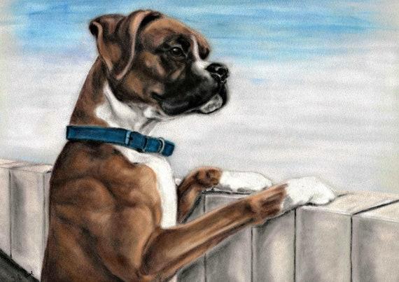 Boxer Art Boxer Dog Boxer Print Boxer Dog Wall Art | Etsy