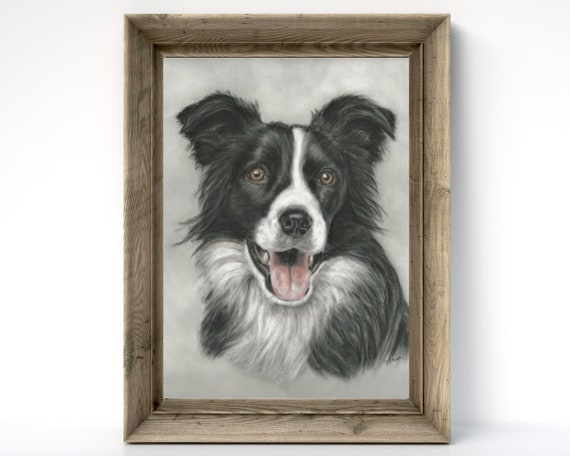 Dog Lover Gift Border Collie Illustration Border Collie on the Beach with a Pink Sea Art Print