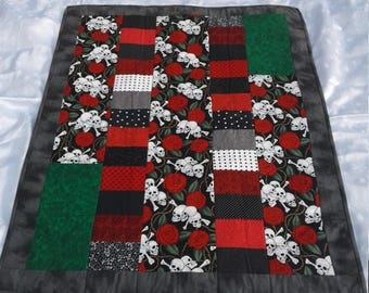 Skulls and roses baby quilt
