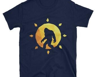 Retro Bigfoot Silhouette Sun T-Shirt - Believe Gift Tee
