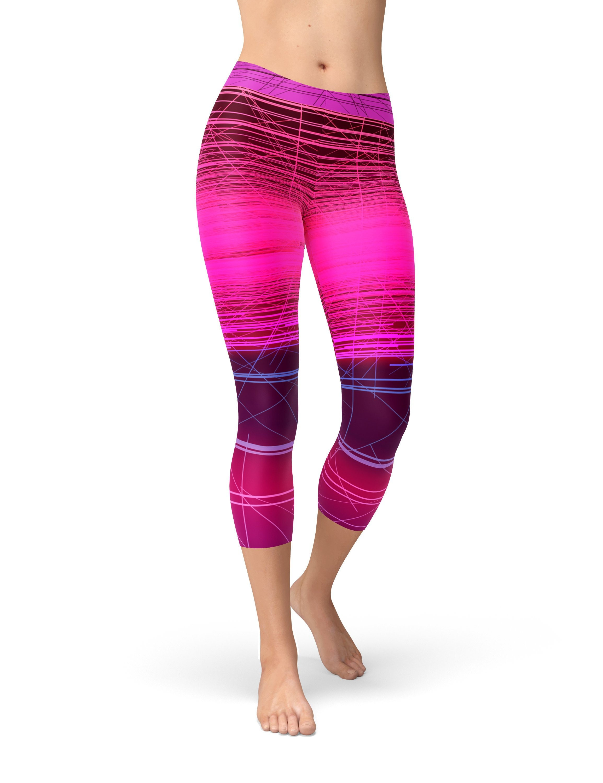 d9a0defc61c2e Hot Pink Striped Workout Leggings for Women Ombre Leggings   Etsy