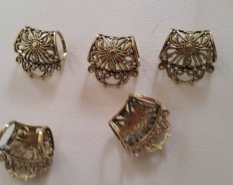 set of 6 gold tone scarf bails