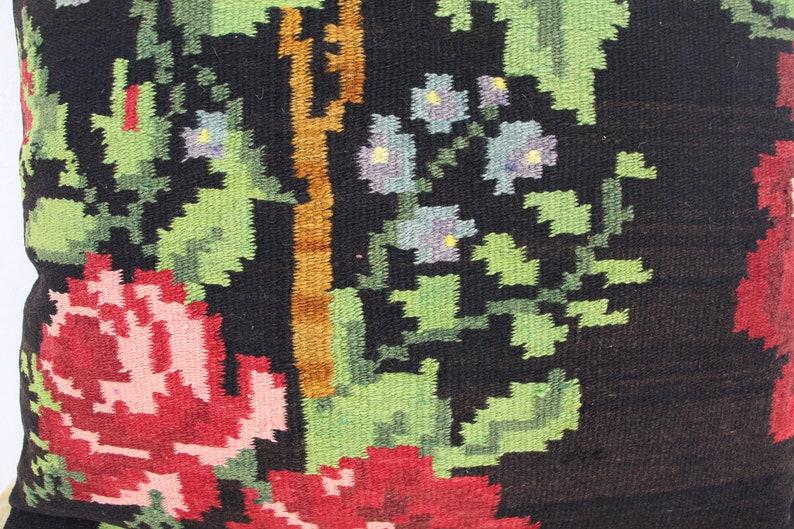 Handwoven Bessarabian Floral Kilim Cushion 60x60cm 24x24ft,Decorative Boho Pillow Kilim Cushion Handmade lumbar L436