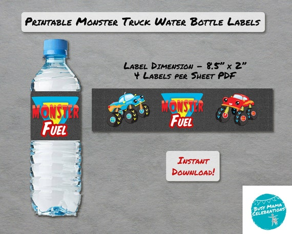 Monster Truck Party Water Bottle Labels, Truck Theme Bottle Wraps, INSTANT  DOWNLOAD, Birthday Party Favors Boys, Digital Beverage Printables