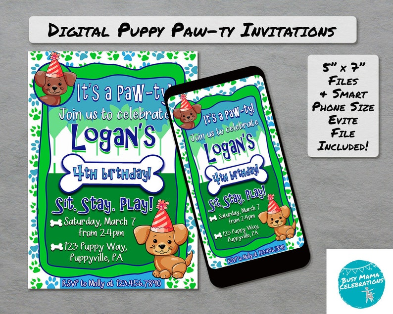 Puppy Birthday Invitation Printable Dog Party Invite Pet