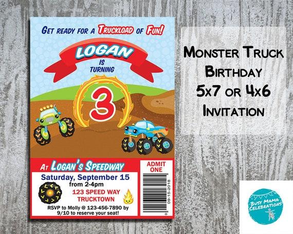 monster truck birthday party invitations monster truck etsy