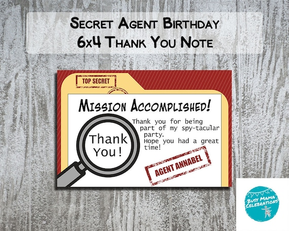Secret agent party thank you notes spy birthday party etsy image 0 filmwisefo