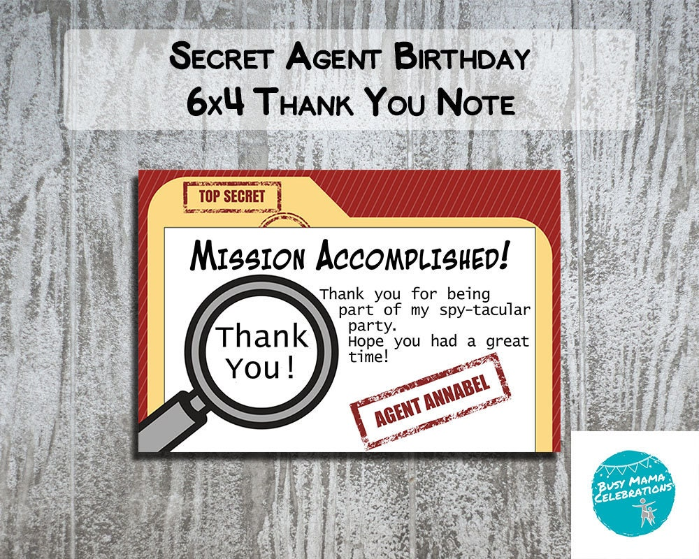 Secret Agent Party Thank You Notes Spy Birthday Party | Etsy