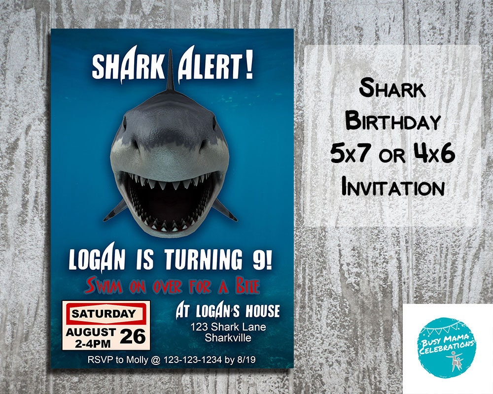Shark invitations shark birthday invitations shark birthday etsy zoom filmwisefo