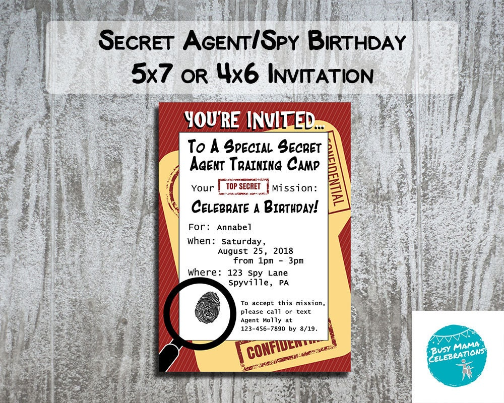 Secret Agent Invitation Spy Birthday Party Invitation Escape   Etsy