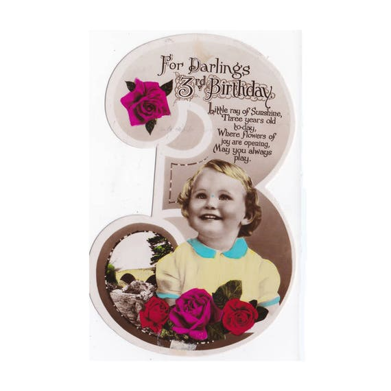 Vintage UK Birthday Greeting Card For A 3 Year Old Girl Hand