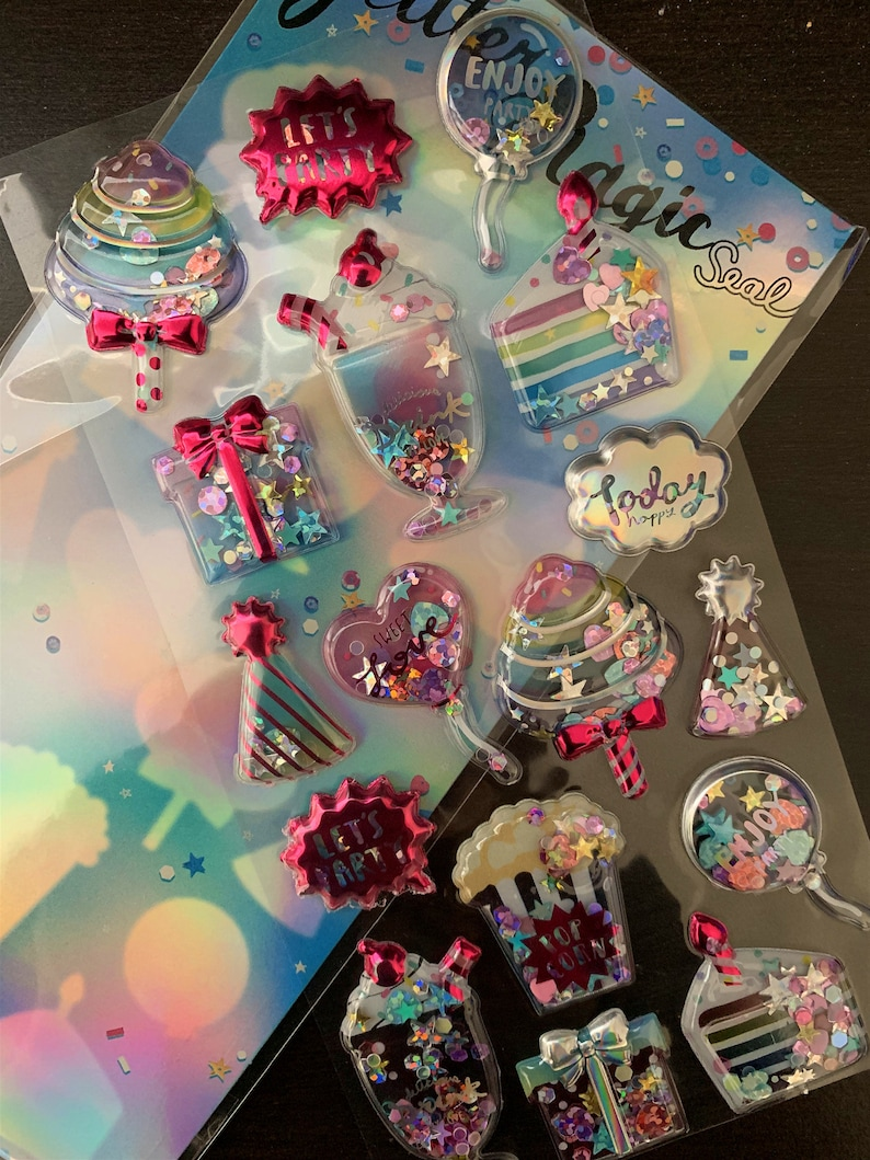 Kawaii accesories Puffy 3D Stickers, glitter and sequins, capsule shaker  stickers