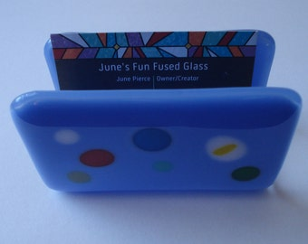 Fun Fused Glass Business Card Holder