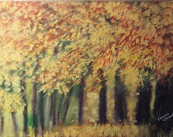 Immersed in Fall. Art, pastel painting, sold unframed, original art, one of a kind, handmade, free domestic shipping,