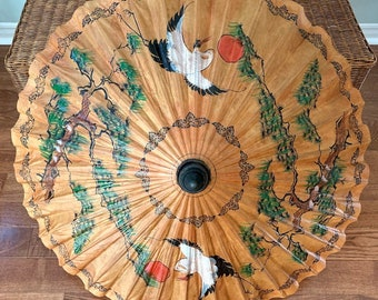 Rice Paper Bamboo/Parasol Sun Umbrella, Oriental Hand Painted, Home Decor, Wedding Accessory