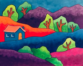 Sweet Town,  Original acrylic painting , Houses, Mountains. Whimsical painting.Folk art.