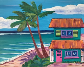 Perpetual Garden. Original Acrylic Painting. Caribbean House. Whimsical painting.