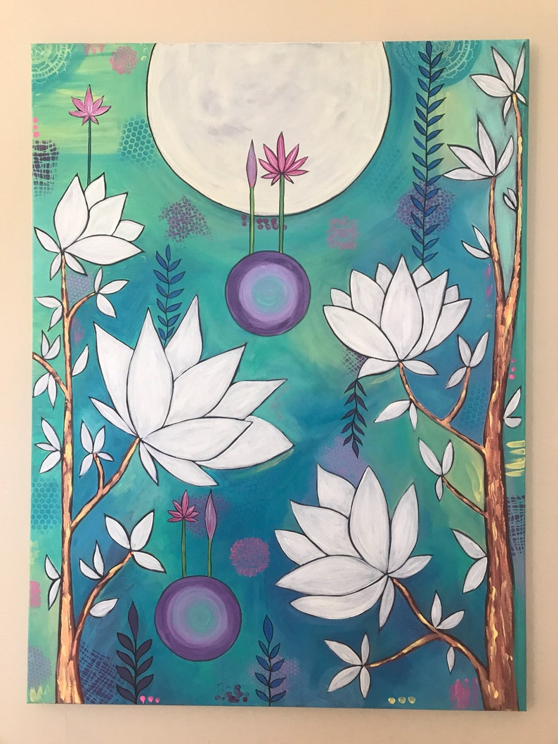 Lotus Flower Original Acrylic Painting Flowers Tree Etsy