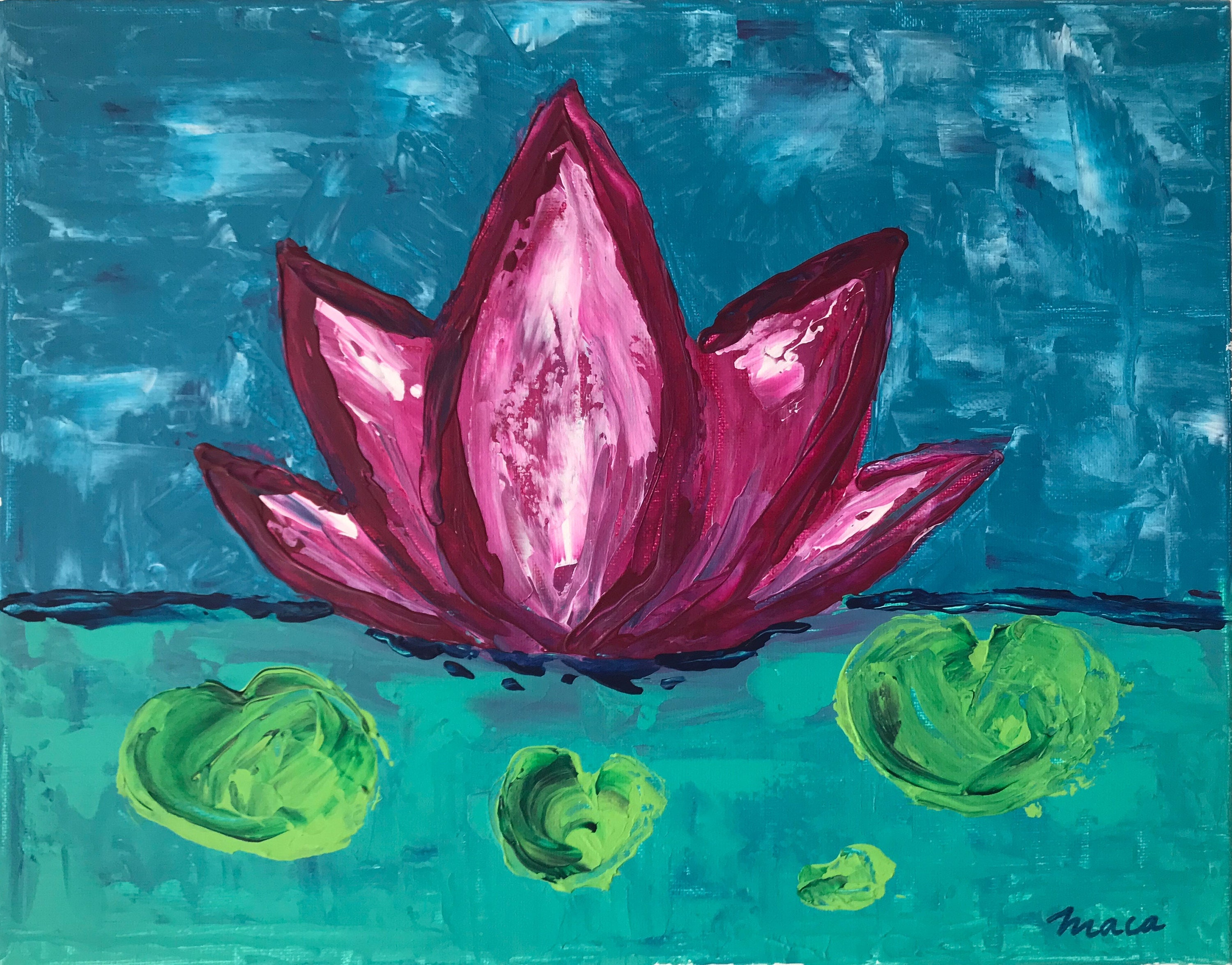 Great lotus original acrylic painting made with palette etsy 50 izmirmasajfo