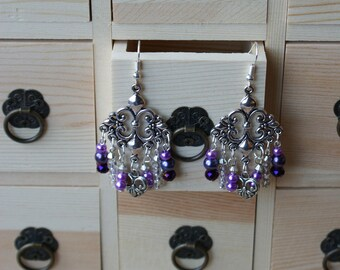 Purple Chandelier Drop Earrings, Dangle Earrings, Ornate Earrings, Metal Earrings, Vintage Style, Gift For Her